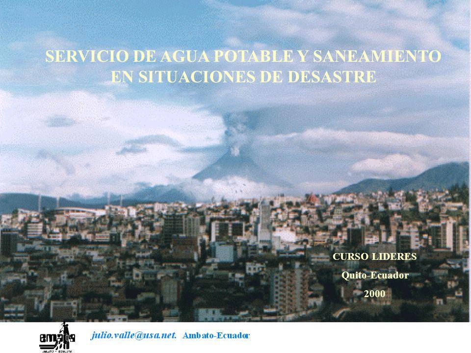 SERVICIO DE AGUA POTABLE Y SANEAMIENTO EN SITUACIONES DE DESASTRE
