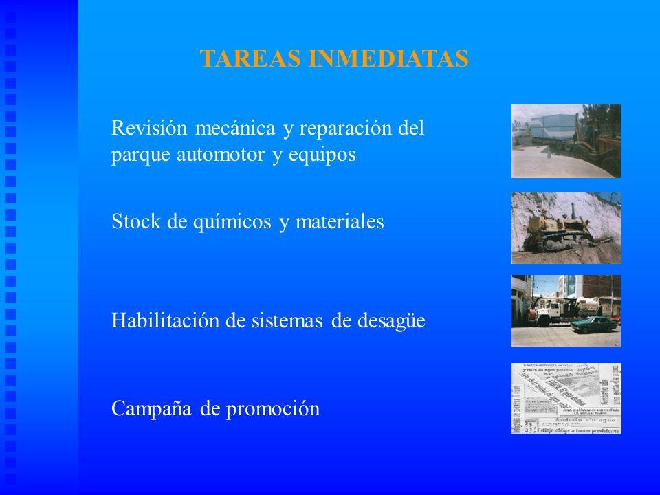 TAREAS INMEDIATAS Revisión mecánica y reparación del parque automotor y equipos.