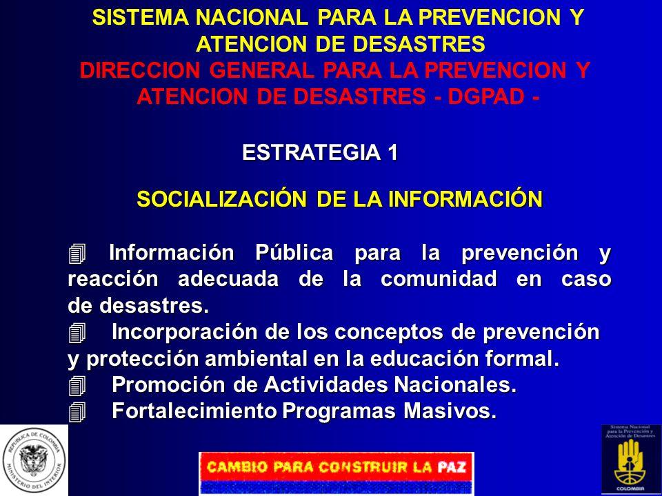 SISTEMA NACIONAL PARA LA PREVENCION Y