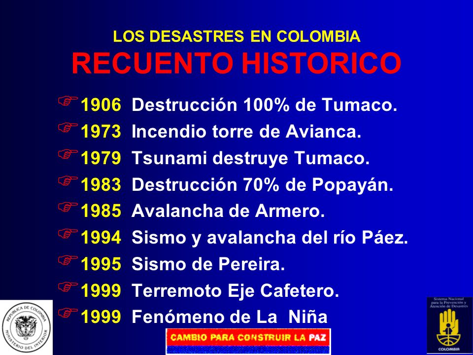LOS DESASTRES EN COLOMBIA RECUENTO HISTORICO