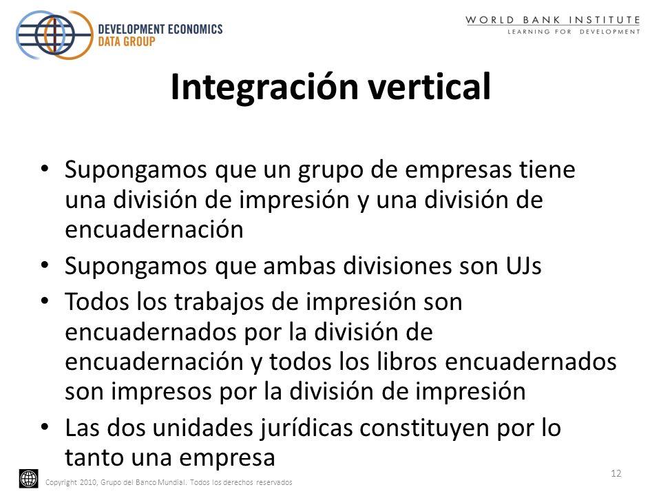 Integración vertical Supongamos que un grupo de empresas tiene una división de impresión y una división de encuadernación.