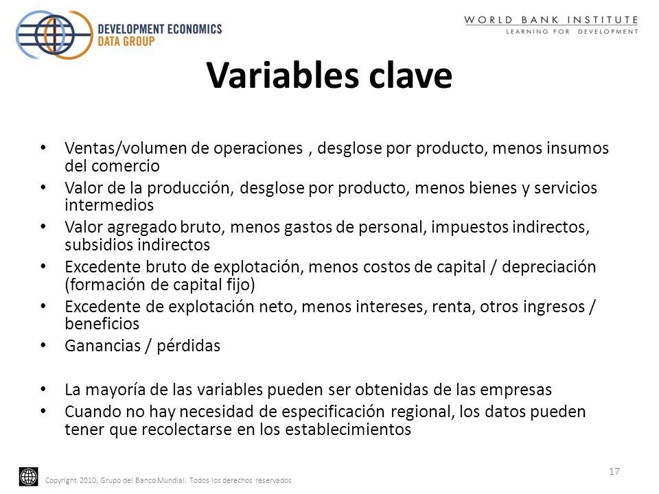 Variables clave Ventas/volumen de operaciones , desglose por producto, menos insumos del comercio.