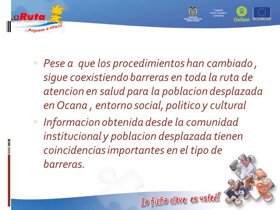 Pese a que los procedimientos han cambiado , sigue coexistiendo barreras en toda la ruta de atencion en salud para la poblacion desplazada en Ocana , entorno social, politico y cultural