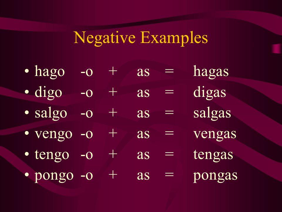 Negative Examples hago -o + as = hagas digo -o + as = digas