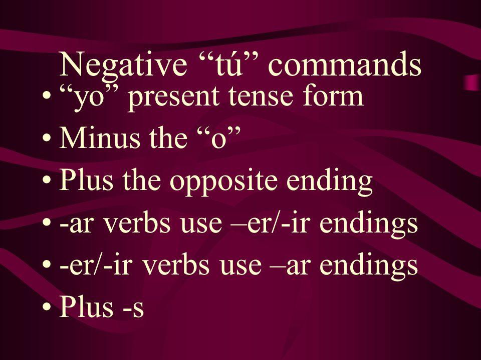 Negative tú commands