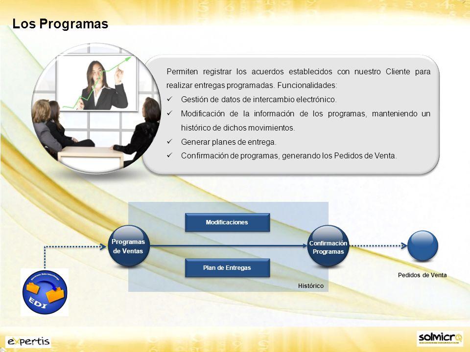 Los Programas Permiten registrar los acuerdos establecidos con nuestro Cliente para realizar entregas programadas. Funcionalidades: