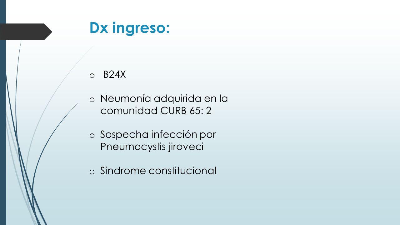 Dx ingreso: B24X Neumonía adquirida en la comunidad CURB 65: 2