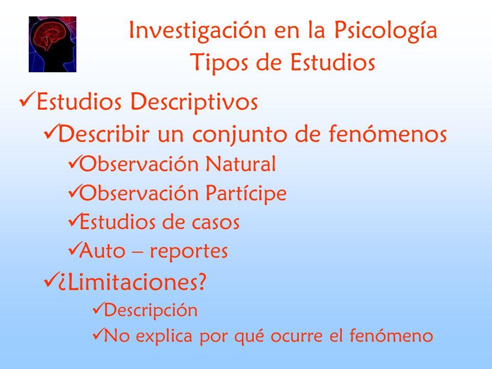 Investigación en la Psicología Tipos de Estudios