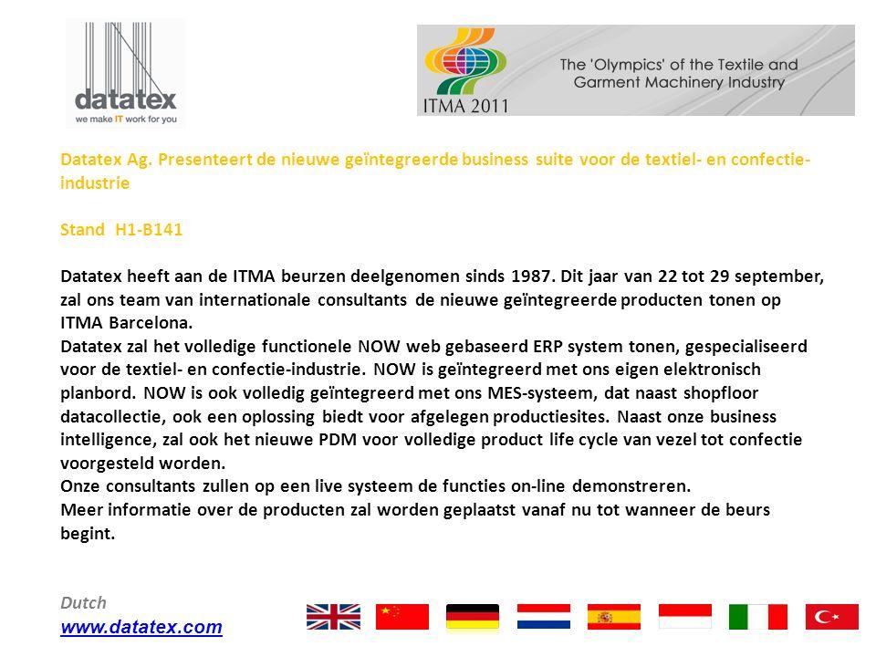 Datatex Ag. Presenteert de nieuwe geïntegreerde business suite voor de textiel- en confectie-industrie