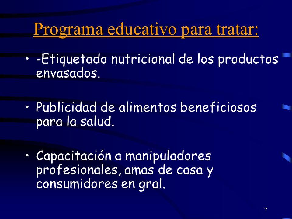 Programa educativo para tratar: