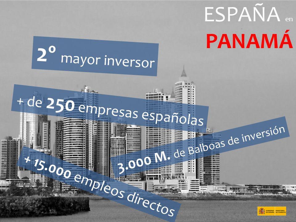 2º mayor inversor PANAMÁ ESPAÑA en + de 250 empresas españolas