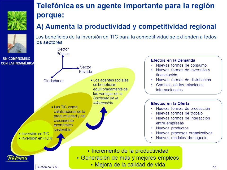 Telefónica es un agente importante para la región porque:
