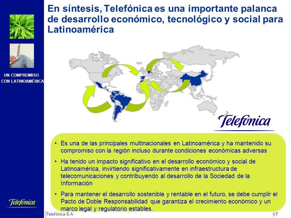 En síntesis, Telefónica es una importante palanca de desarrollo económico, tecnológico y social para Latinoamérica
