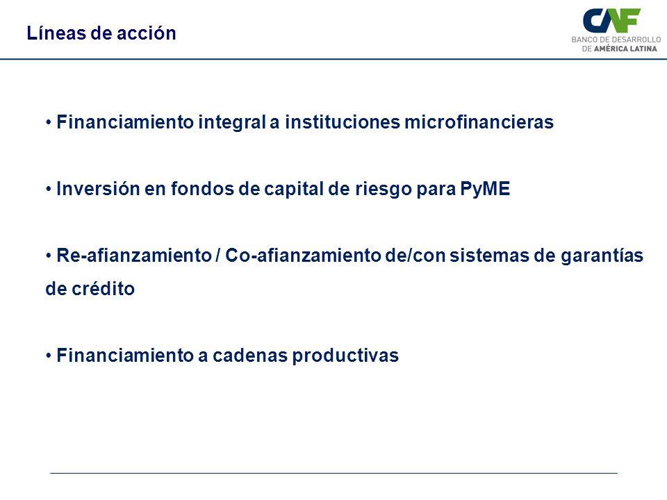 Líneas de acción Financiamiento integral a instituciones microfinancieras. Inversión en fondos de capital de riesgo para PyME.