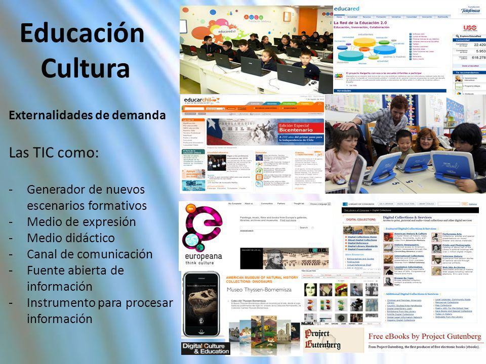 Educación Cultura Las TIC como: Externalidades de demanda