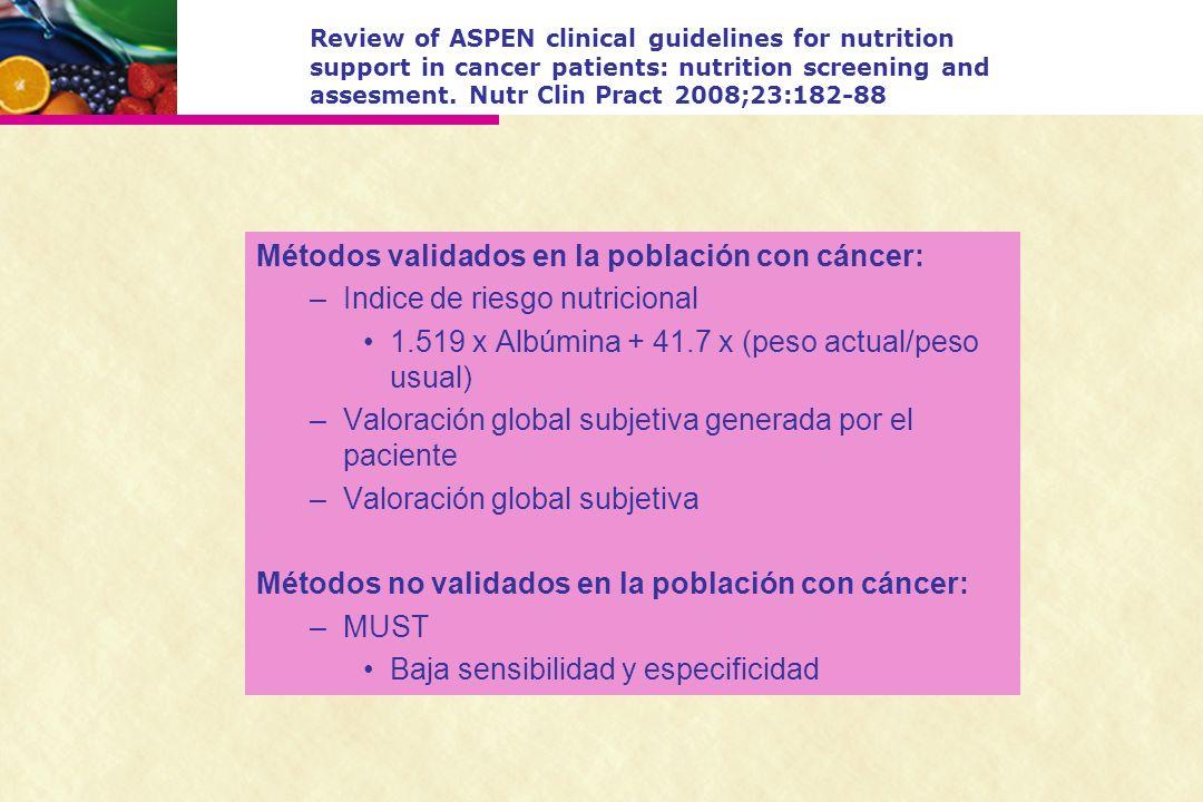 Métodos validados en la población con cáncer: