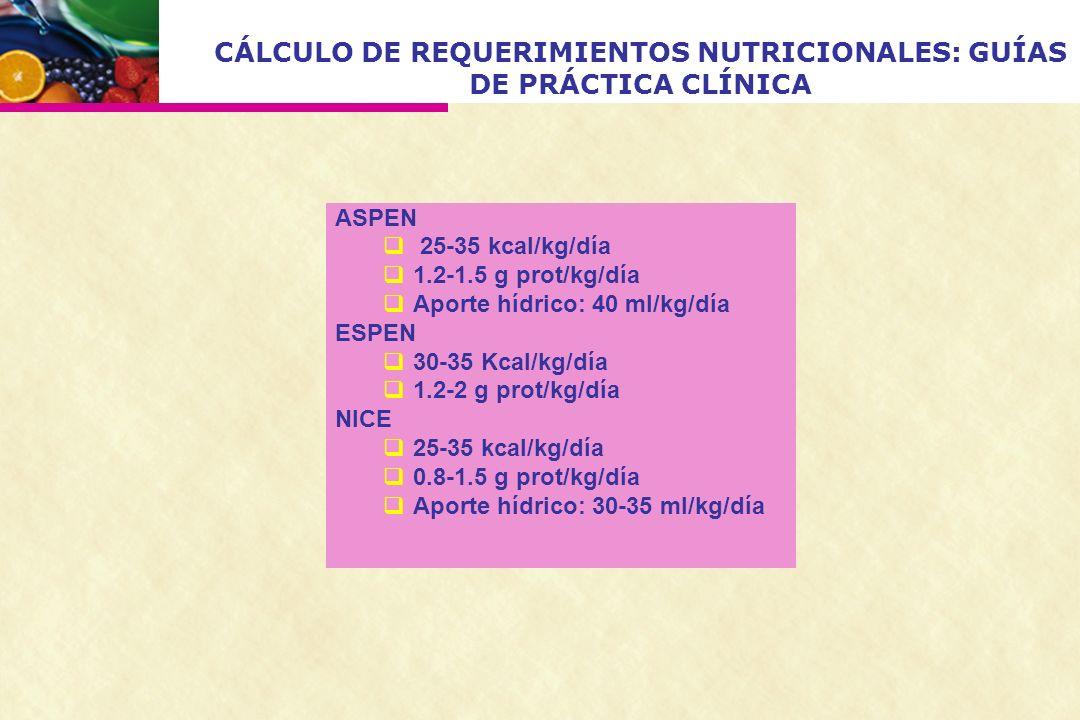 CÁLCULO DE REQUERIMIENTOS NUTRICIONALES: GUÍAS DE PRÁCTICA CLÍNICA