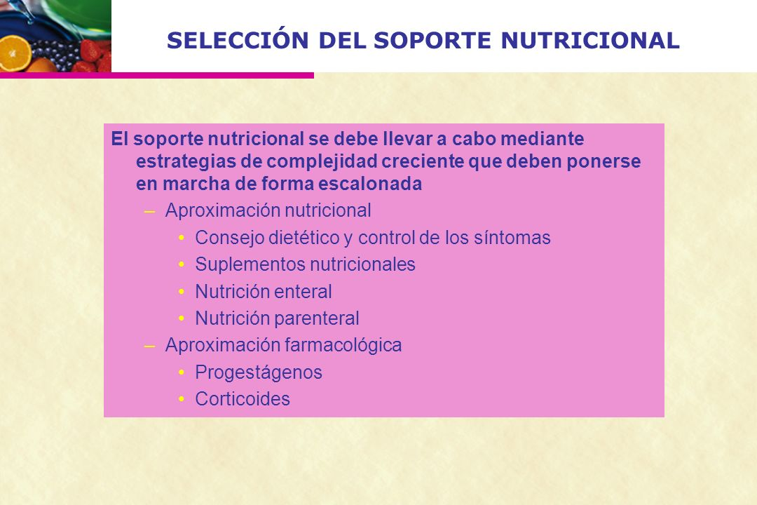 SELECCIÓN DEL SOPORTE NUTRICIONAL