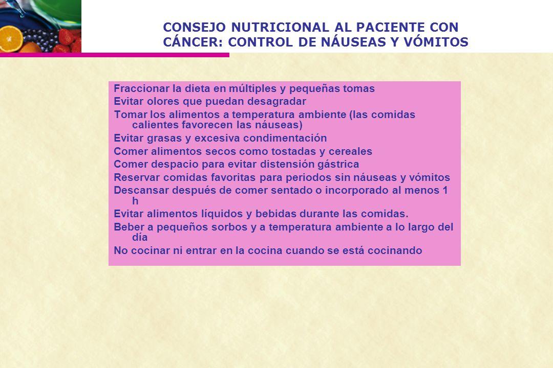 CONSEJO NUTRICIONAL AL PACIENTE CON CÁNCER: CONTROL DE NÁUSEAS Y VÓMITOS