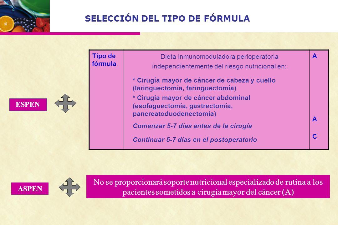 SELECCIÓN DEL TIPO DE FÓRMULA