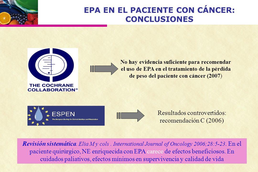EPA EN EL PACIENTE CON CÁNCER: CONCLUSIONES