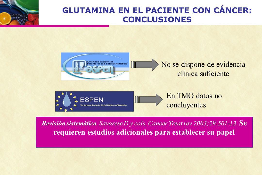 GLUTAMINA EN EL PACIENTE CON CÁNCER: CONCLUSIONES