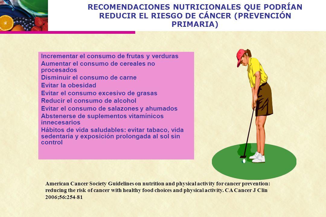 RECOMENDACIONES NUTRICIONALES QUE PODRÍAN REDUCIR EL RIESGO DE CÁNCER (PREVENCIÓN PRIMARIA)
