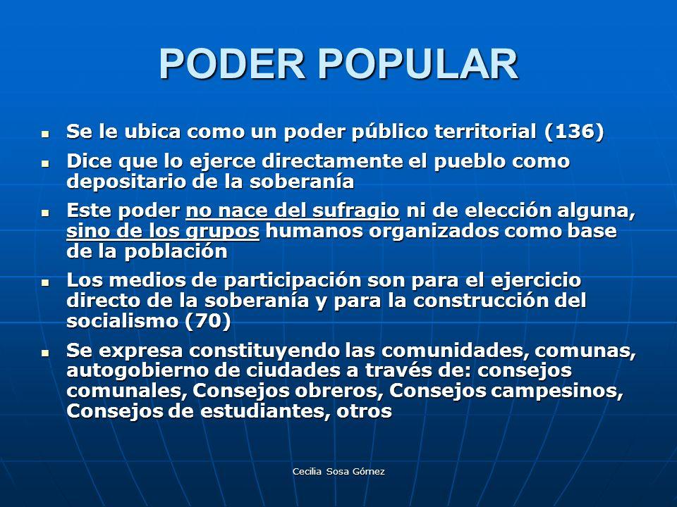 PODER POPULAR Se le ubica como un poder público territorial (136)