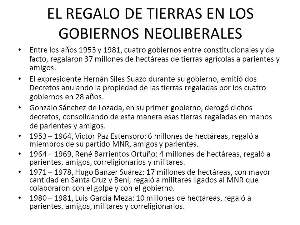 EL REGALO DE TIERRAS EN LOS GOBIERNOS NEOLIBERALES
