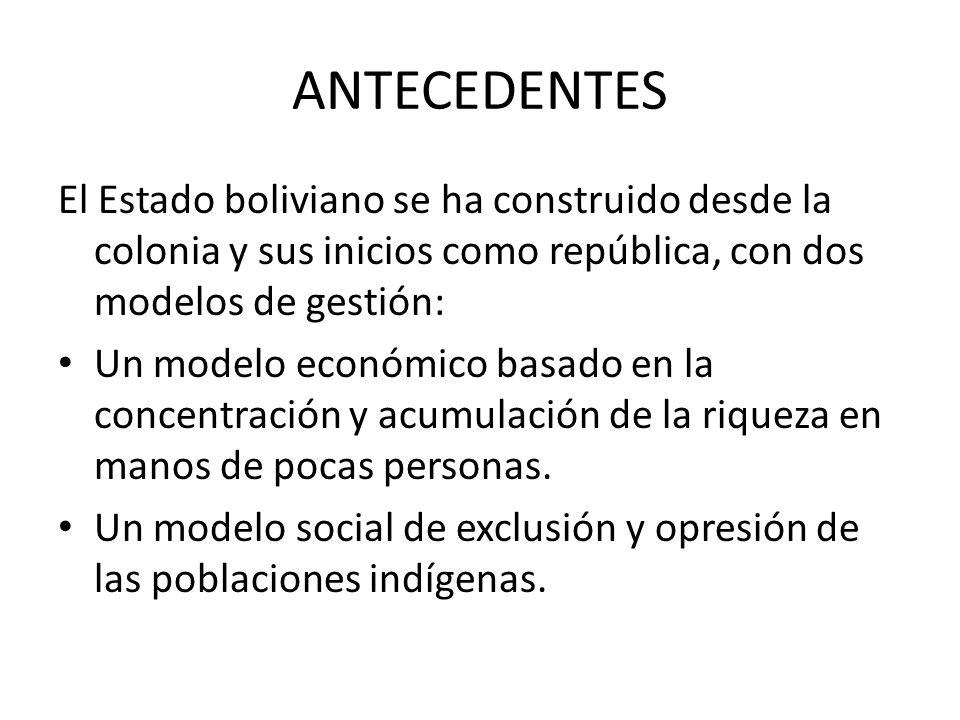 ANTECEDENTES El Estado boliviano se ha construido desde la colonia y sus inicios como república, con dos modelos de gestión: