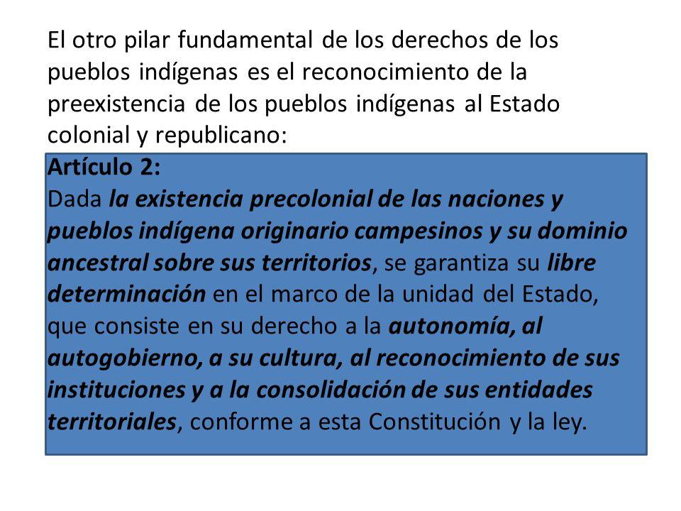 El otro pilar fundamental de los derechos de los pueblos indígenas es el reconocimiento de la preexistencia de los pueblos indígenas al Estado colonial y republicano: