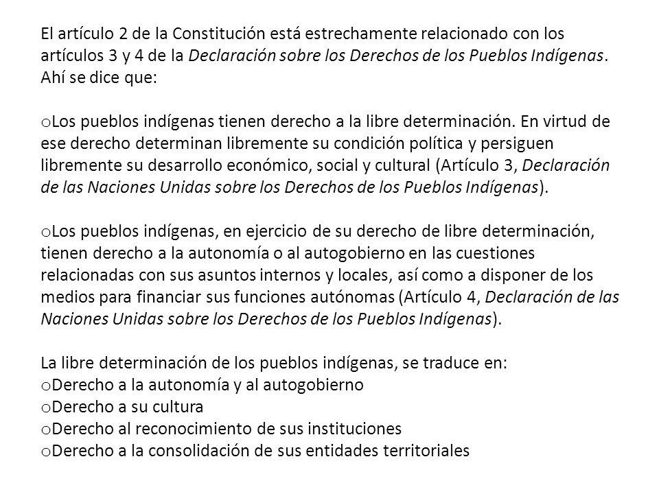 El artículo 2 de la Constitución está estrechamente relacionado con los artículos 3 y 4 de la Declaración sobre los Derechos de los Pueblos Indígenas. Ahí se dice que: