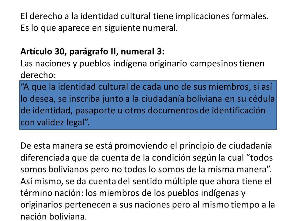 El derecho a la identidad cultural tiene implicaciones formales