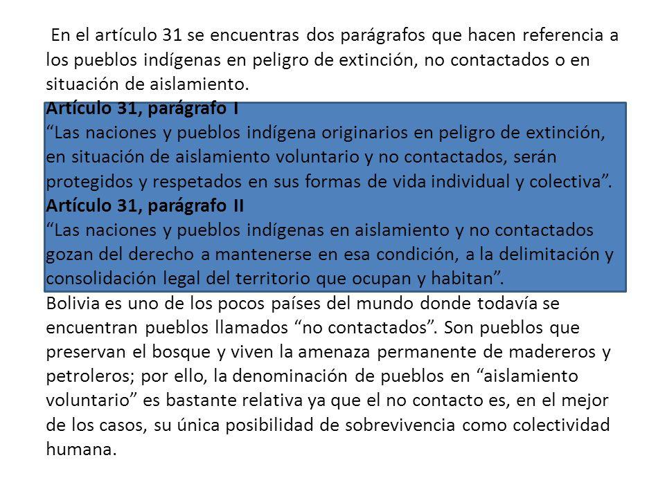 En el artículo 31 se encuentras dos parágrafos que hacen referencia a los pueblos indígenas en peligro de extinción, no contactados o en situación de aislamiento.