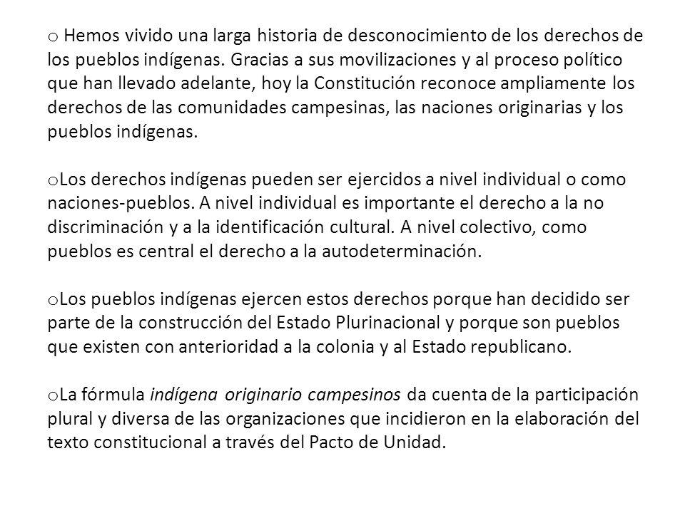 Hemos vivido una larga historia de desconocimiento de los derechos de los pueblos indígenas. Gracias a sus movilizaciones y al proceso político que han llevado adelante, hoy la Constitución reconoce ampliamente los derechos de las comunidades campesinas, las naciones originarias y los pueblos indígenas.