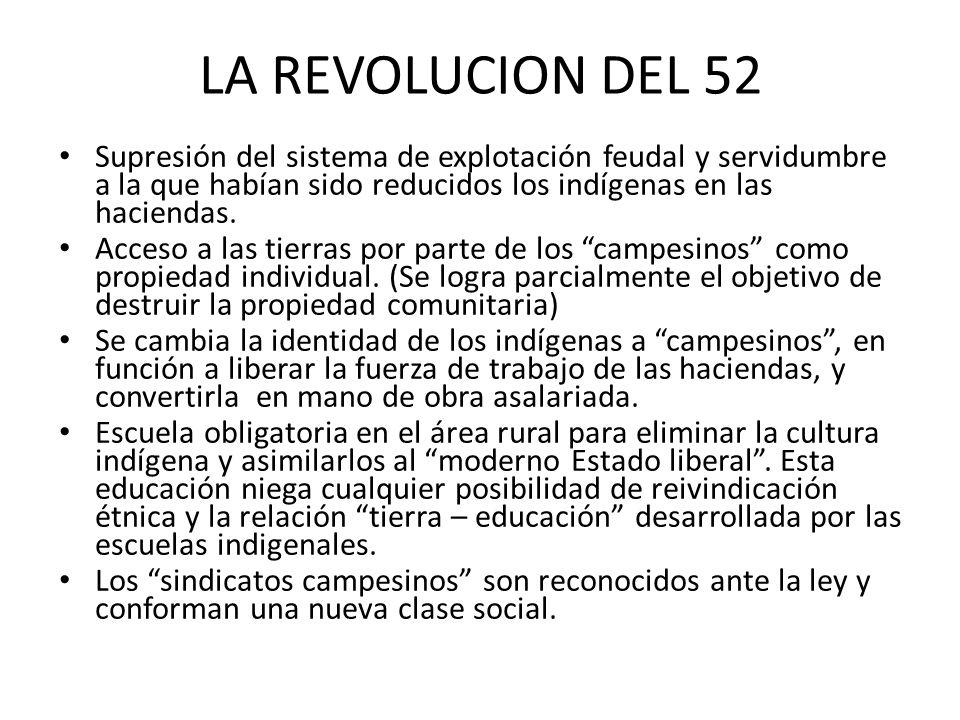 LA REVOLUCION DEL 52 Supresión del sistema de explotación feudal y servidumbre a la que habían sido reducidos los indígenas en las haciendas.