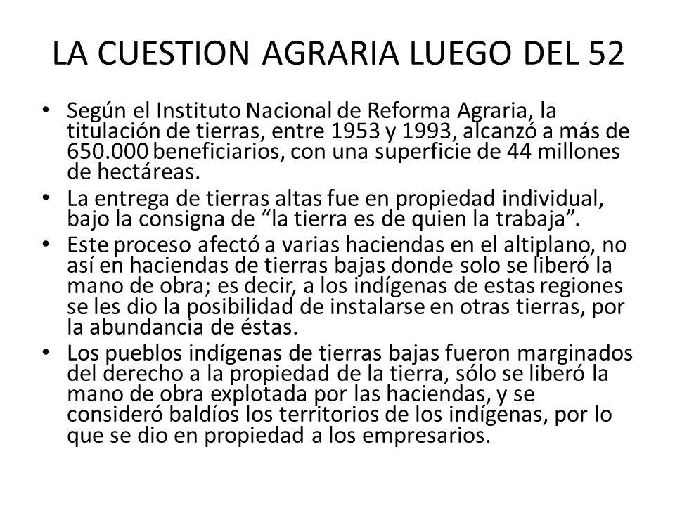 LA CUESTION AGRARIA LUEGO DEL 52