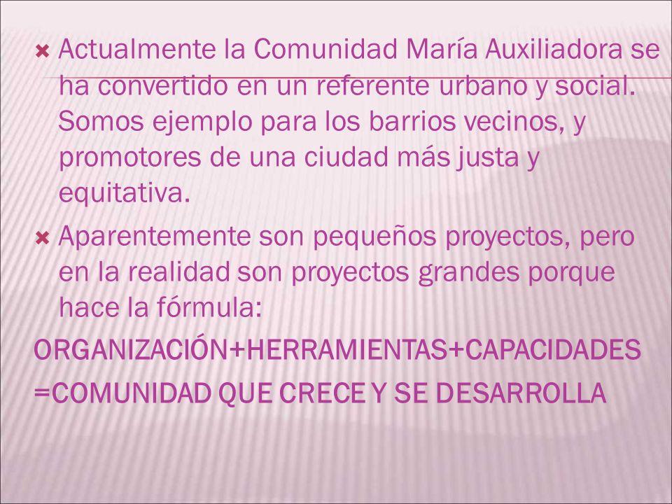 Actualmente la Comunidad María Auxiliadora se ha convertido en un referente urbano y social. Somos ejemplo para los barrios vecinos, y promotores de una ciudad más justa y equitativa.