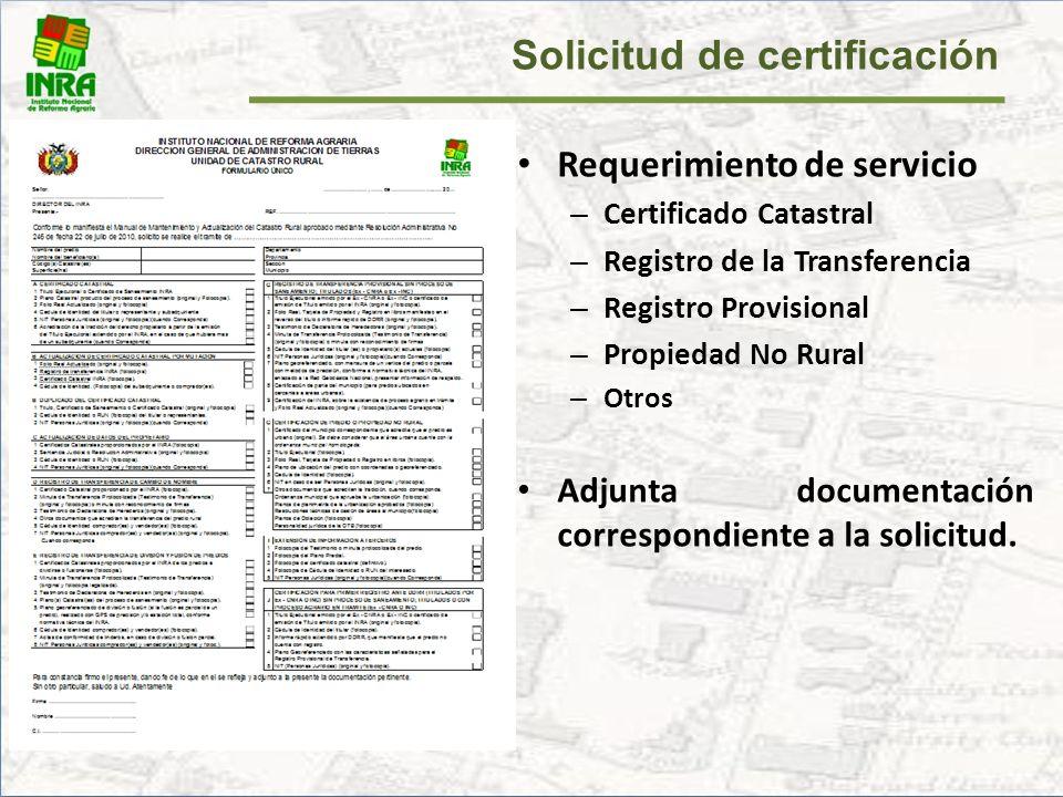 Solicitud de certificación