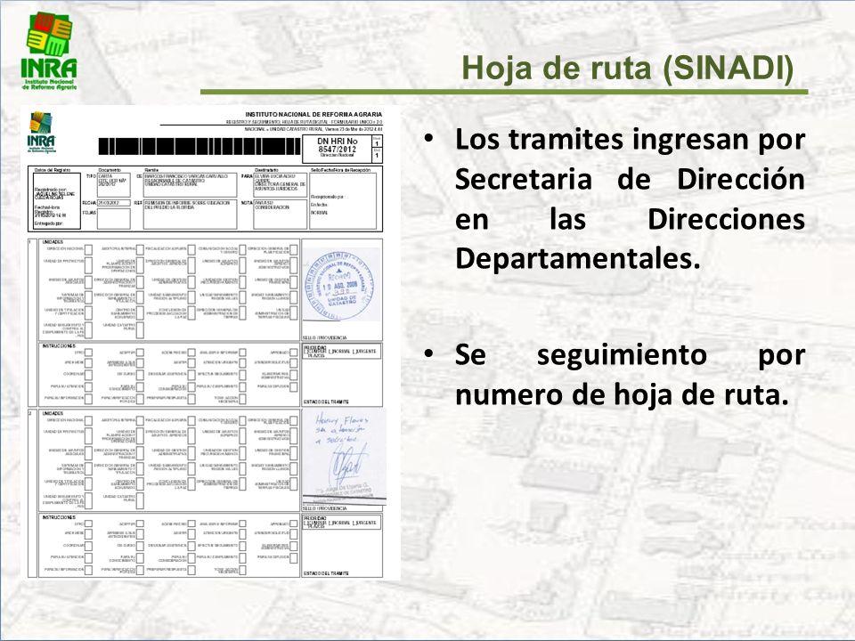 Hoja de ruta (SINADI) Los tramites ingresan por Secretaria de Dirección en las Direcciones Departamentales.