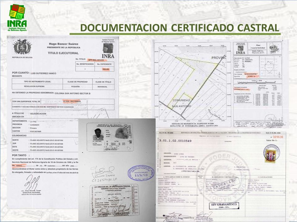 DOCUMENTACION CERTIFICADO CASTRAL
