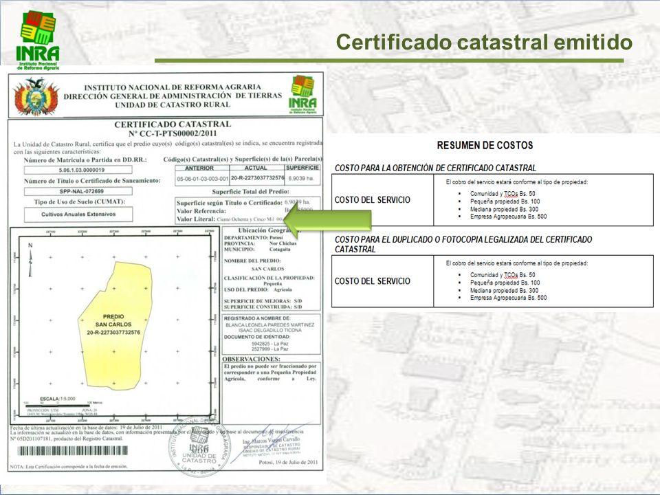 Certificado catastral emitido