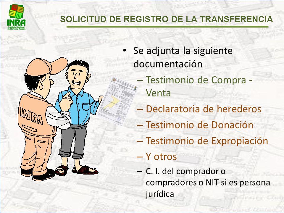 SOLICITUD DE REGISTRO DE LA TRANSFERENCIA