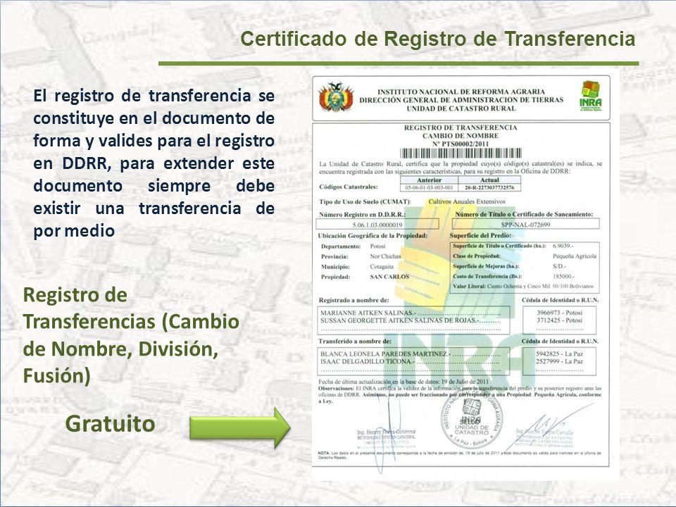 Certificado de Registro de Transferencia