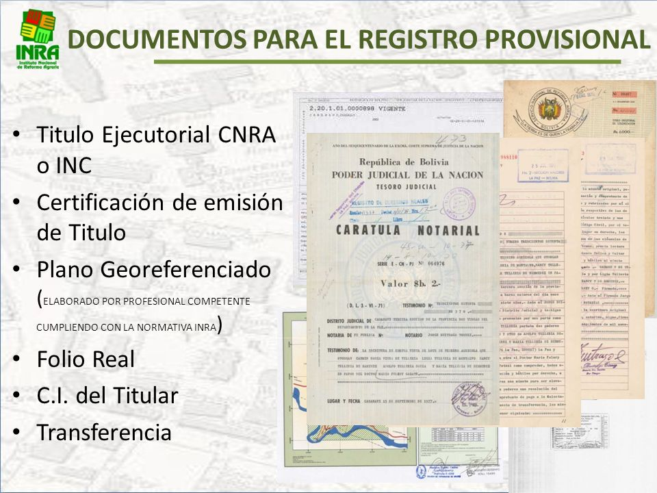 DOCUMENTOS PARA EL REGISTRO PROVISIONAL