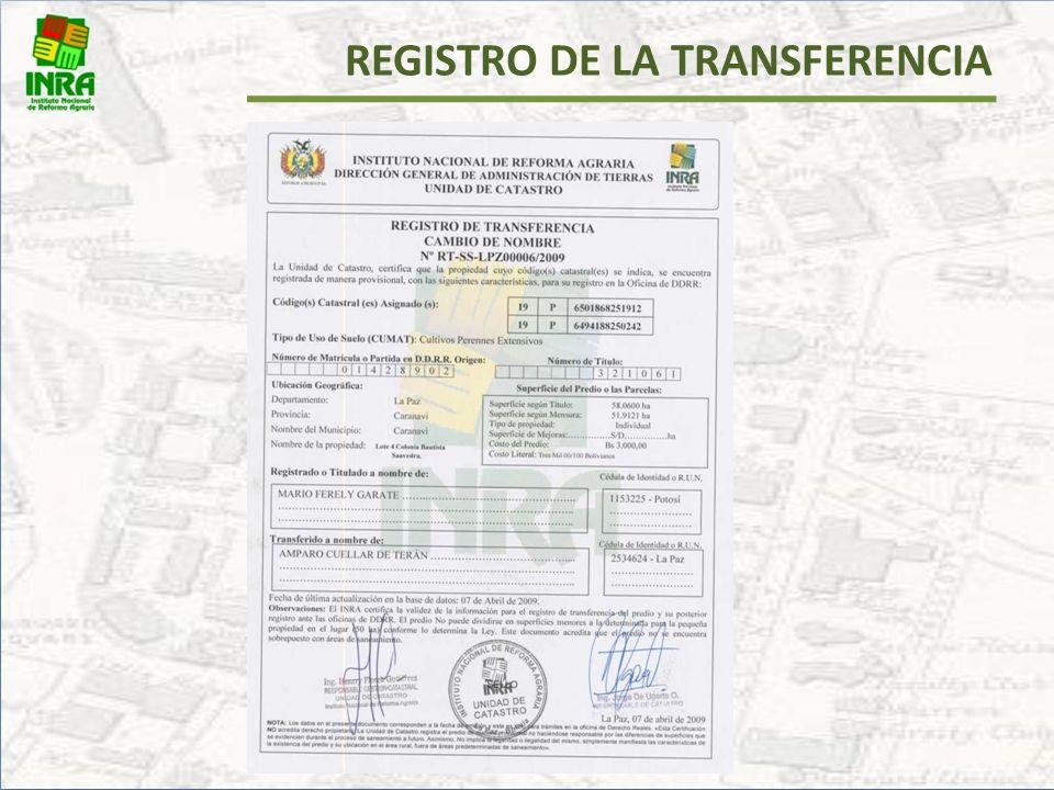 REGISTRO DE LA TRANSFERENCIA