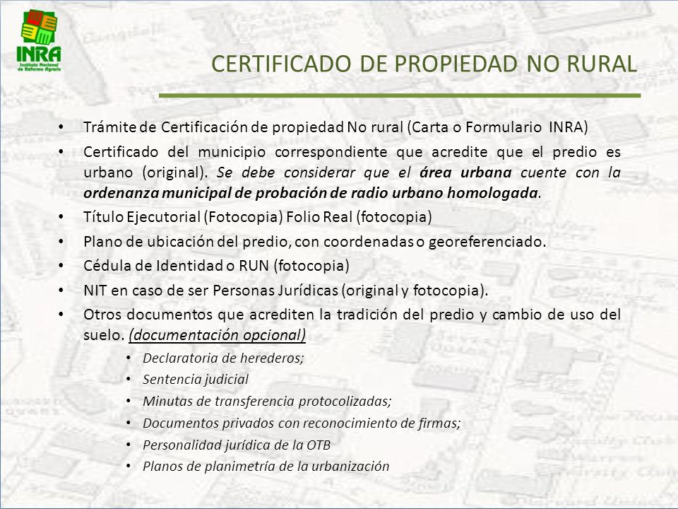 CERTIFICADO DE PROPIEDAD NO RURAL