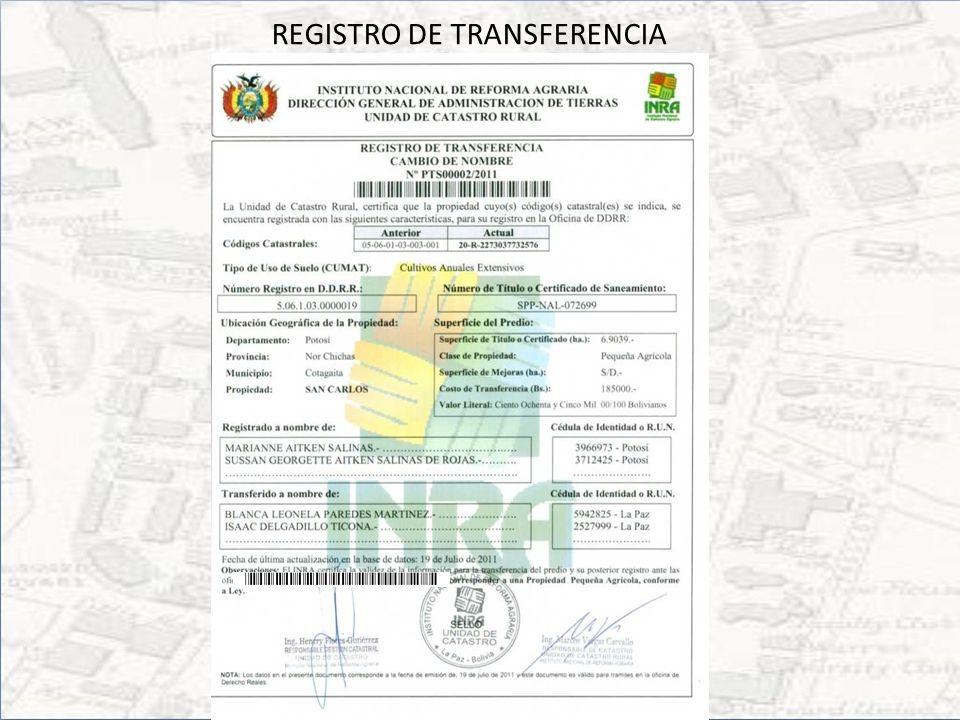 REGISTRO DE TRANSFERENCIA