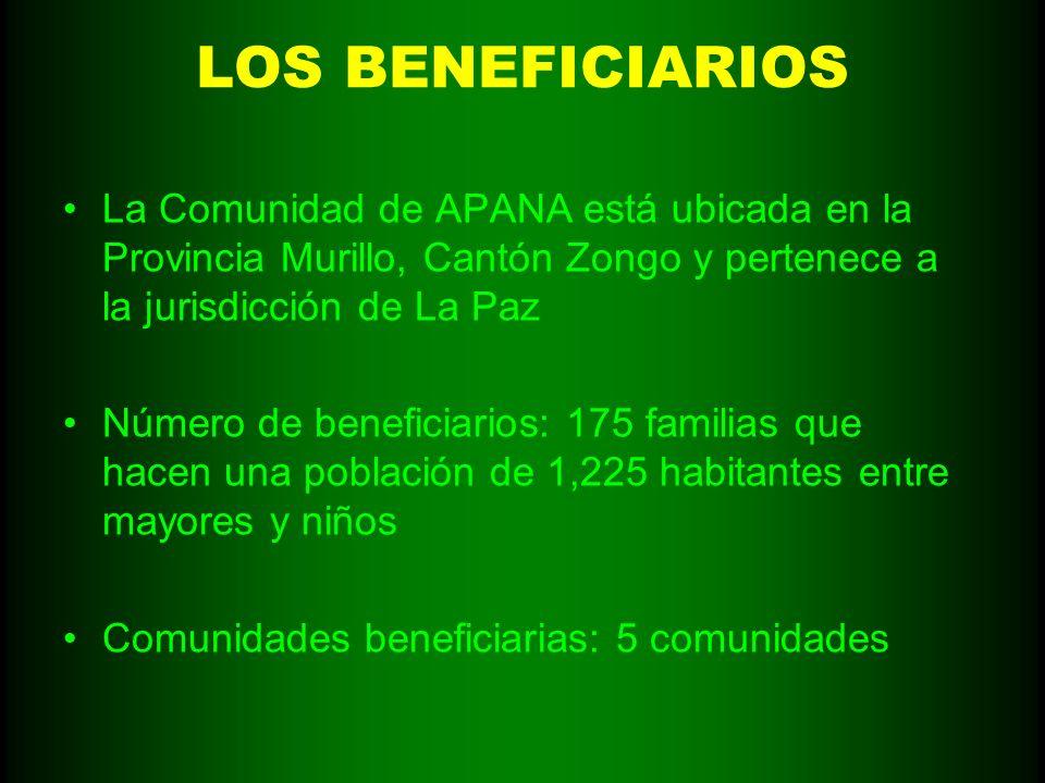LOS BENEFICIARIOS La Comunidad de APANA está ubicada en la Provincia Murillo, Cantón Zongo y pertenece a la jurisdicción de La Paz.