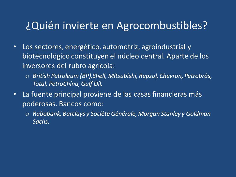 ¿Quién invierte en Agrocombustibles